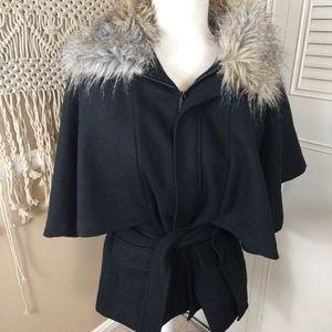 Fabulous Furs cape wool faux fur trim cape jacket